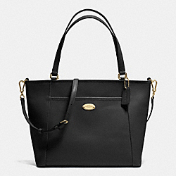 COACH POCKET TOTE IN CROSSGRAIN LEATHER - IMITATION GOLD/BLACK - F34497