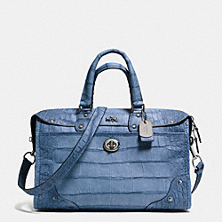 COACH RHYDER SATCHEL IN CROC EMBOSSED DENIM LEATHER - QB/DEN LIGHT GOLD - F34501