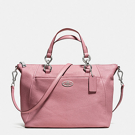 COACH COLETTE SATCHEL IN PEBBLE LEATHER -  SILVER/SHADOW ROSE - f34508