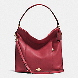 SHOULDER BAG IN PEBBLE LEATHER - f34511 - IMITATION GOLD/CRANBERRY