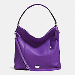 SHOULDER BAG IN PEBBLE LEATHER - f34511 - SILVER/PURPLE IRIS