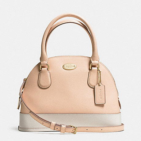 COACH MINI CORA DOMED SATCHEL IN BICOLOR CROSSGRAIN LEATHER -  LIGHT GOLD/APRICOT/CHALK - f34517
