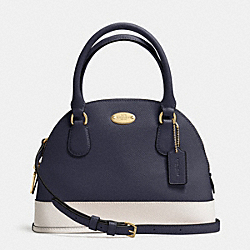 COACH MINI CORA DOMED SATCHEL IN BICOLOR CROSSGRAIN LEATHER - LIGHT GOLD/MIDNIGHT/CHALK - F34517