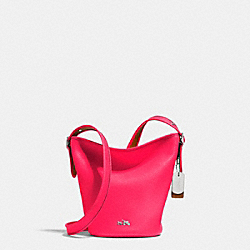 C.O.A.C.H. MINI DUFFLE IN POLISHED PEBBLE LEATHER - SILVER/NEON PINK - COACH F34527