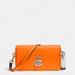 COACH C.O.A.C.H. PENNY CROSSBODY IN POLISHED PEBBLE LEATHER - SILVER/NEON ORANGE - F34539