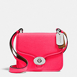 COACH C.O.A.C.H. MINI PAGE CROSSBODY IN CROSSGRAIN LEATHER - SILVER/NEON PINK - F34544