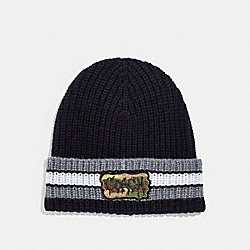VARSITY STRIPE KNIT BEANIE WITH PATCH - BLACK/GRAPHITE - COACH F34578