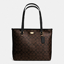ZIP TOP TOTE IN SIGNATURE CANVAS - LIGHT GOLD/BROWN/BLACK - COACH F34603