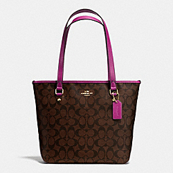 COACH ZIP TOP TOTE IN SIGNATURE - IMITATION GOLD/BROWN/FUCHSIA - F34603