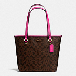 ZIP TOP TOTE IN SIGNATURE CANVAS - f34603 - IMITATION GOLD/BROWN/PINK RUBY
