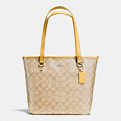 ZIP TOP TOTE IN SIGNATURE - f34603 - SILVER/LIGHT KHAKI/CANARY