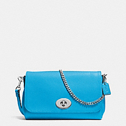 MINI RUBY CROSSBODY IN LEATHER - f34604 - SILVER/AZURE