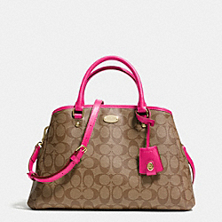 SMALL MARGOT CARRYALL IN SIGNATURE CANVAS - LIGHT GOLD/KHAKI/PINK RUBY - COACH F34608