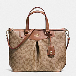COACH SIGNATURE PLEAT TOTE - LIGHT GOLD/KHAKI/SADDLE - F34614