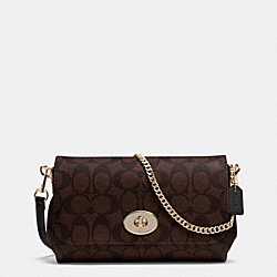 MINI RUBY CROSSBODY IN SIGNATURE CANVAS - f34615 -  LIGHT GOLD/BROWN/BLACK