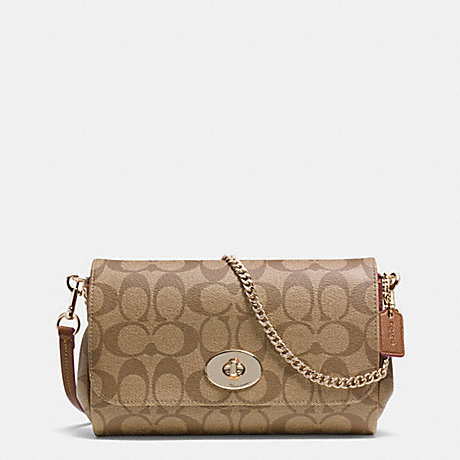 COACH MINI RUBY CROSSBODY IN SIGNATURE CANVAS - LIGHT GOLD/KHAKI/SADDLE - f34615