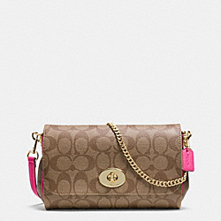 MINI RUBY CROSSBODY IN SIGNATURE CANVAS - f34615 -  LIGHT GOLD/KHAKI/PINK RUBY