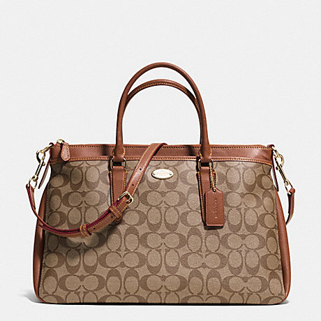 COACH MORGAN SATCHEL IN SIGNATURE - LIGHT GOLD/KHAKI/SADDLE - f34617