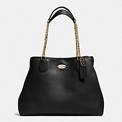 COACH CHAIN SHOULDER BAG IN PEBBLE LEATHER - LIGHT GOLD/BLACK - F34619