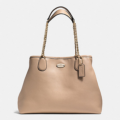 COACH f34619 CHAIN SHOULDER BAG IN PEBBLE LEATHER LIGHT GOLD/NUDE