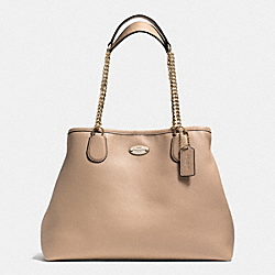 COACH CHAIN SHOULDER BAG IN PEBBLE LEATHER - LIGHT GOLD/NUDE - F34619