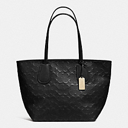 COACH EMBOSSED LOGO TAXI ZIP TOTE IN LEATHER - LIGHT GOLD/BLACK - COACH F34621