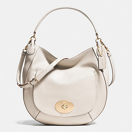 COACH f34656 CIRCLE HOBO IN SMOOTH CALF LEATHER LIGHT GOLD/CHALK