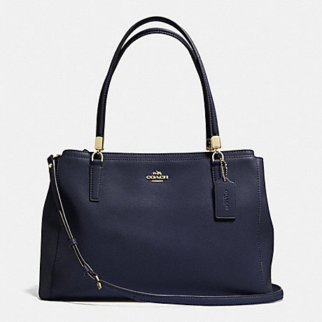 COACH f34672 CHRISTIE CARRYALL IN LEATHER LIGHT GOLD/MIDNIGHT