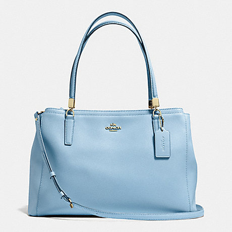 COACH f34672 CHRISTIE CARRYALL IN CROSSGRAIN LEATHER LIGHT GOLD/PALE BLUE