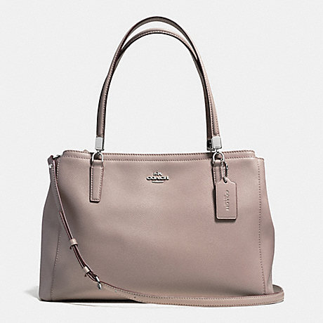 COACH f34672 CHRISTIE CARRYALL IN LEATHER SILVER/GREY BIRCH