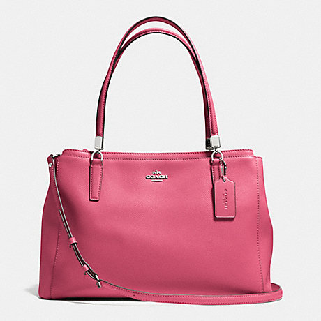 COACH f34672 CHRISTIE CARRYALL IN LEATHER SILVER/SUNSET RED