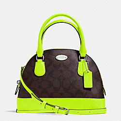 COACH MINI CORA DOMED SATCHEL IN SIGNATURE COATED CANVAS - SILVER/BROWN/NEON YELLOW - F34710