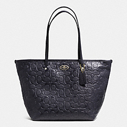 COACH SIGNATURE EMBOSSED PEBBLE LEATHER STREET ZIP TOTE - LIGHT GOLD/MIDNIGHT - F34712