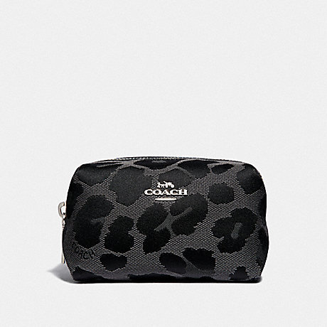 COACH FOLDED COSMETIC CASE WITH LEOPARD PRINT - GREY/SILVER - F34721