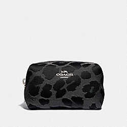 FOLDED COSMETIC CASE WITH LEOPARD PRINT - GREY/SILVER - COACH F34721