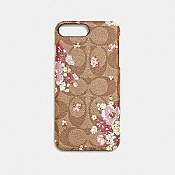 IPHONE 8 PLUS CASE IN SIGNATURE CANVAS WITH FLORAL BUNDLE PRINT - KHAKI MULTI - COACH F34723