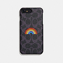 COACH IPHONE 8 PLUS CASE IN SIGNATURE CANVAS WITH RAINBOW - NAVY MULTI - F34724