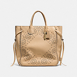 COACH TATUM STUDDED TALL TOTE IN WHIPLASH LEATHER - BLACK ANTIQUE NICKEL/NUDE - F34771