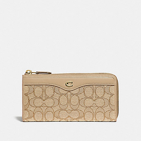 COACH L-ZIP WALLET IN SIGNATURE JACQUARD - LIGHT KHAKI/BEECHWOOD/LIGHT GOLD - F34790