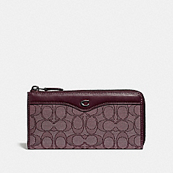 L-ZIP WALLET IN SIGNATURE JACQUARD - RASPBERRY/BLACK ANTIQUE NICKEL - COACH F34790