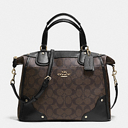 COACH MICKIE SATCHEL IN SIGNATURE COATED CANVAS - LIGHT GOLD/BROWN/BLACK - F34800