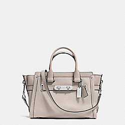 COACH SWAGGER  27 IN PEBBLE LEATHER - f34816 - SILVER/GREY BIRCH