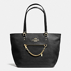 COACH TOWN CAR TOTE IN CROSSGRAIN LEATHER - LIGHT GOLD/BLACK - F34817