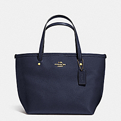 COACH CROSSGRAIN MINI STREET TOTE - LIGHT GOLD/MIDNIGHT - F34871