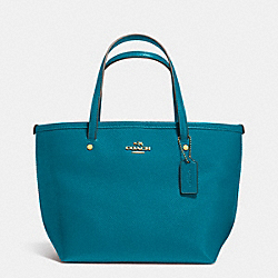 COACH CROSSGRAIN MINI STREET TOTE - LIGHT GOLD/TEAL - F34871