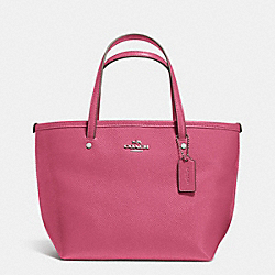 COACH CROSSGRAIN MINI STREET TOTE - SILVER/SUNSET RED - F34871
