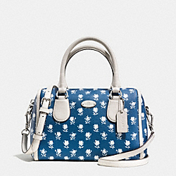 COACH BADLANDS FLORAL MINI BENNETT SATCHEL IN FLORAL PEBBLE EMBOSSED CANVAS - SILVER/BLUE MULTICOLOR - F34898
