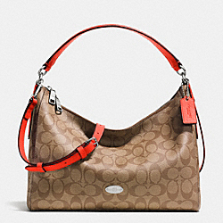 COACH EAST/WEST CELESTE CONVERTIBLE HOBO IN SIGNATURE - SILVER/KHAKI/ORANGE - F34899