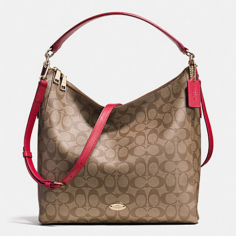 COACH CELESTE CONVERTIBLE HOBO IN SIGNATURE CANVAS -  LIGHT GOLD/KHAKI/RED - f34910