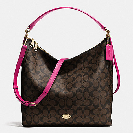 COACH CELESTE CONVERTIBLE HOBO IN SIGNATURE - LIGHT GOLD/BROWN/CRANBERRY F34603 - f34910